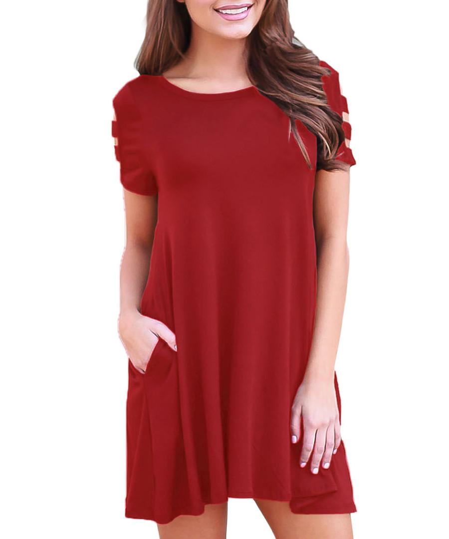 Red ochre pocket mini dress Sale - flora luna