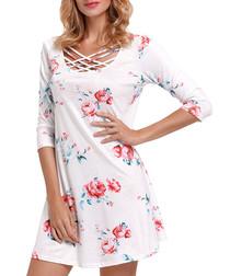 White & floral braid collar mini dress