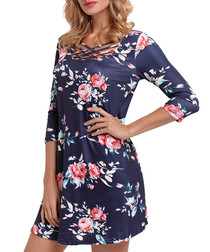 Navy & floral braid collar mini dress