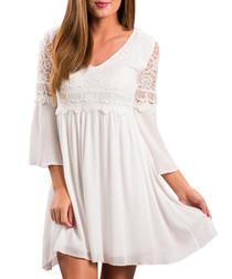 White lace detail V-neck dress