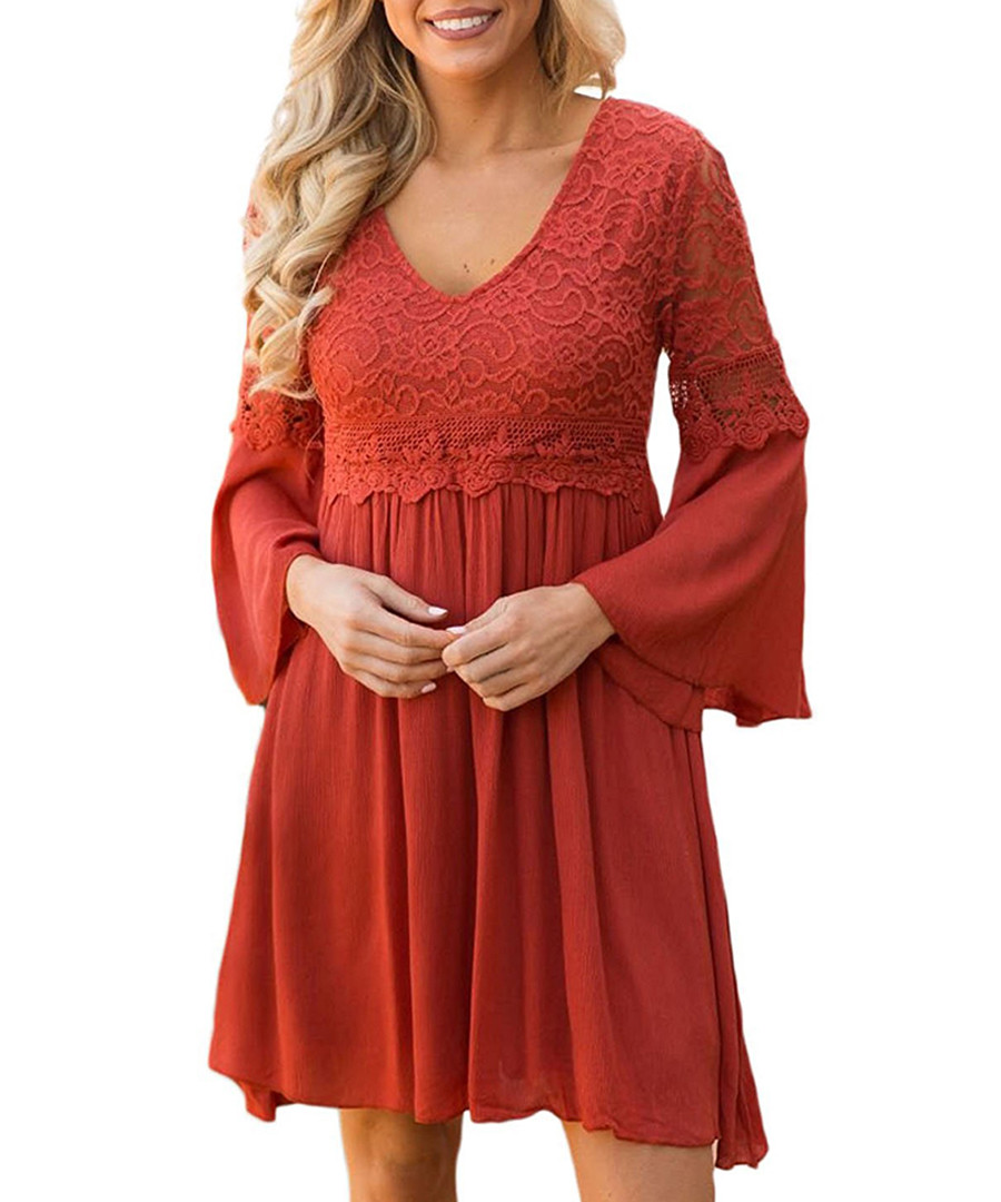 Red ochre lace detail V-neck dress Sale - flora luna