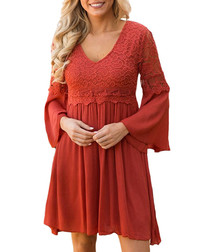 Red ochre lace detail V-neck dress
