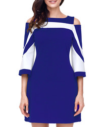 Sax blue & white cold-shoulder dress