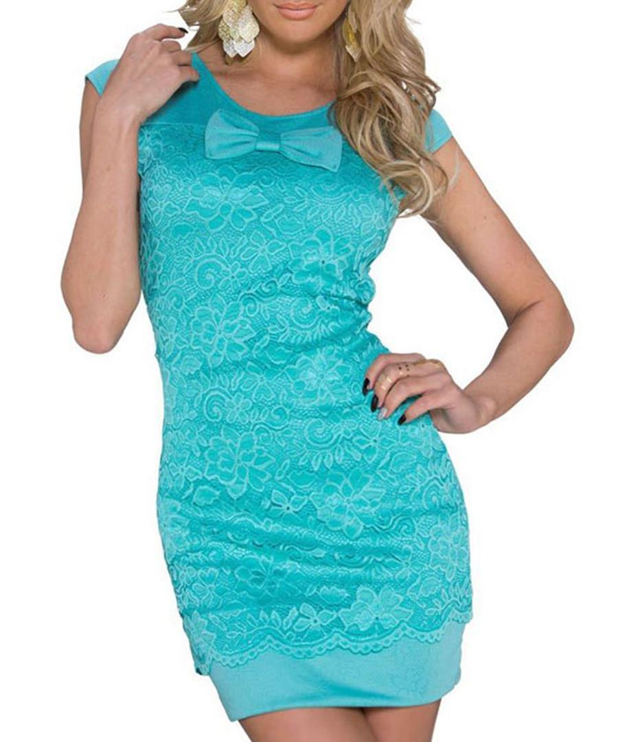 Turquoise lace bow dress Sale - flora luna
