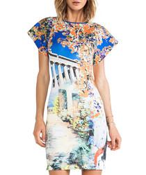 Blue columns print dress
