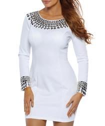 White collar detail long sleeve dress