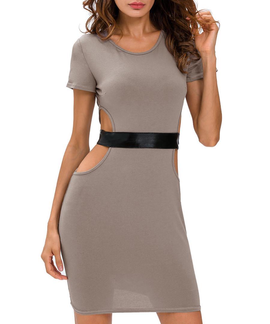 Grey cut-out belt dress Sale - flora luna