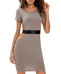 Grey cut-out belt dress