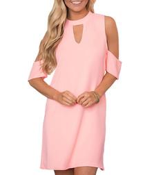 Powder pink cut-out dress