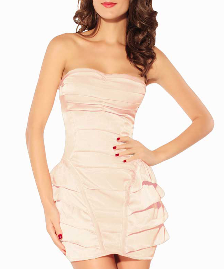 Dusty pink strapless ruffle dress Sale - flora luna