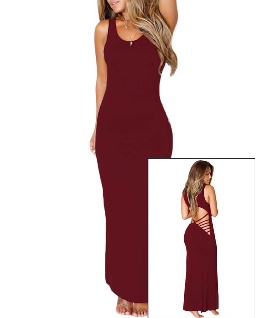 Burgundy  sleeveless maxi dress Sale - flora luna