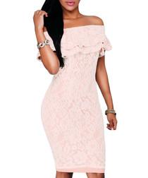 Dusty pink off-shoulder lace dress
