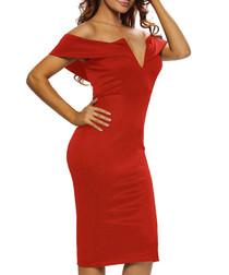 Red ochre off-shoulder V dress