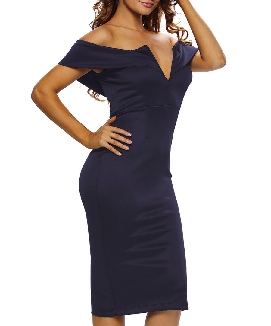 Navy off-shoulder V dress Sale - flora luna