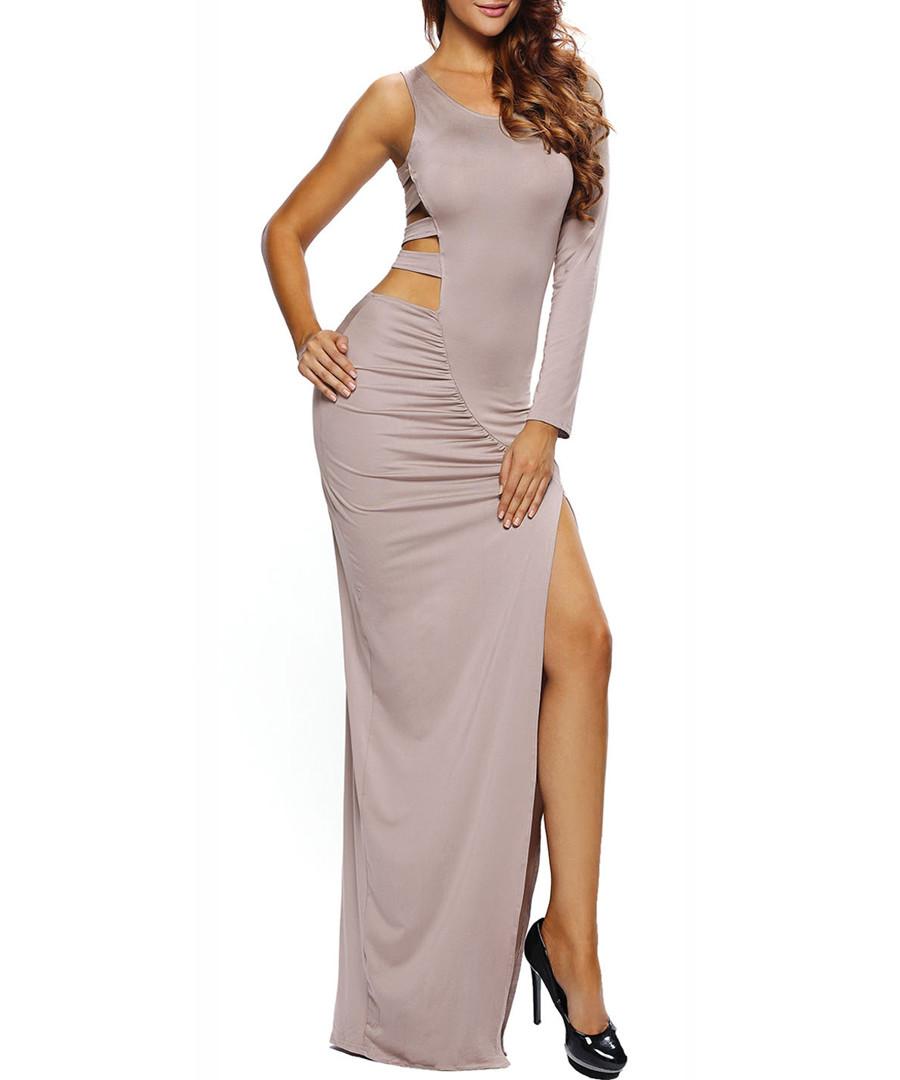 Taupe cut-out maxi dress Sale - flora luna