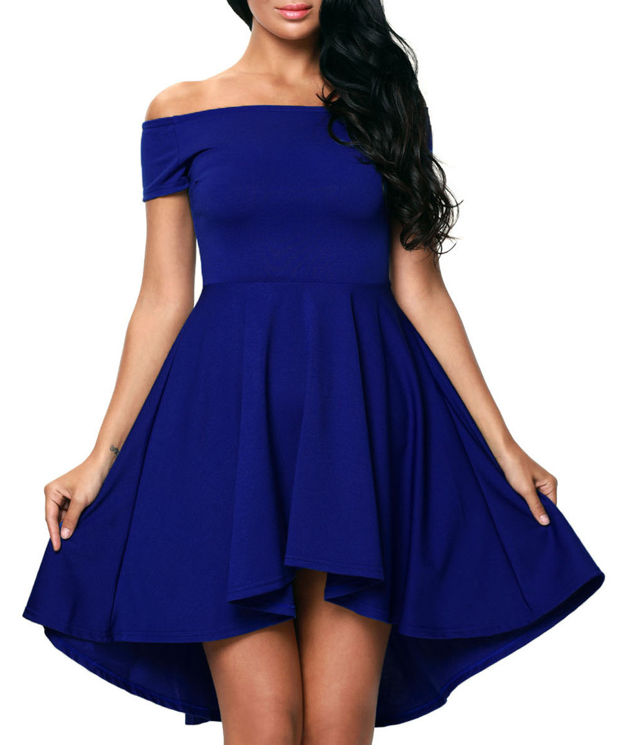 Blue bardot A-line dress Sale - flora luna
