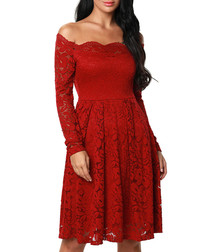 Red ochre off-shoulder lace dress