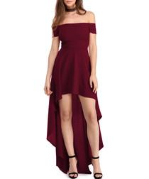 Burgundy bardot high low dress