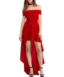 Red bardot high low dress
