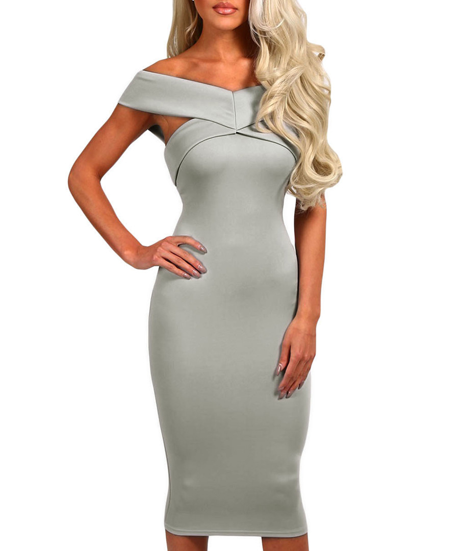 Grey off-shoulder contour dress Sale - flora luna