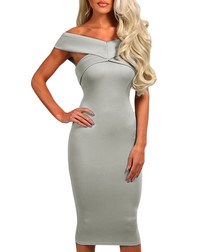 Grey off-shoulder contour dress