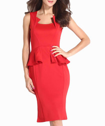 Red sleeveless ruffle dress