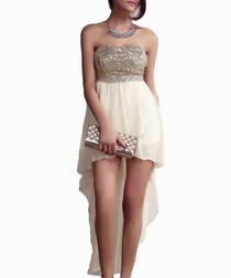 Beige strapless high low dress