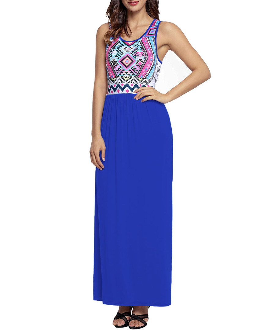 Blue & pink aztec maxi dress Sale - flora luna