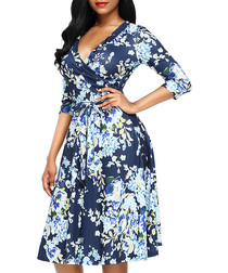 Marine floral wrap dress