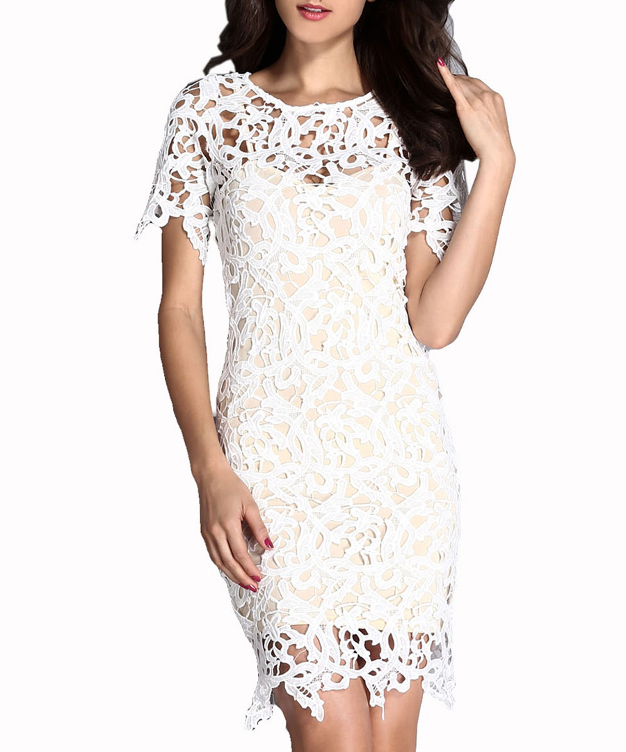 Chalk fretwork mini dress Sale - flora luna