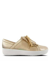 Gold leather lace sneakers