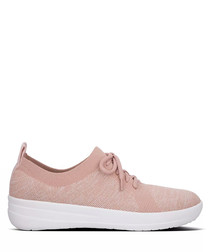 Pale pink knit sneakers