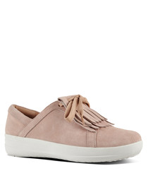 Dusty pink suede tassel sneakers