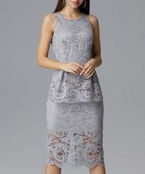 Grey lace peplum midi dress
