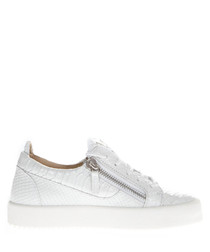White leather crack sneakers