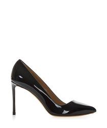 Black patent leather court heels