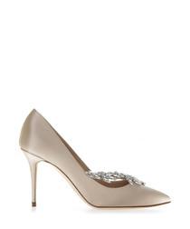 Nadira ecru silk court heels