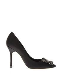 Hangisi black satin court heels
