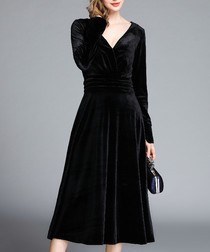 Black velvet V-neck dress
