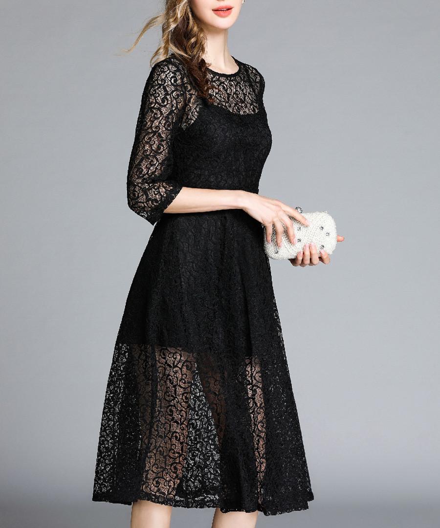 Black floral sheer layer dress Sale - Kaimilan