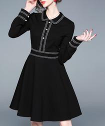 Black collar A-line dress