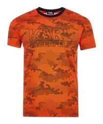 orange camo cotton T-shirt