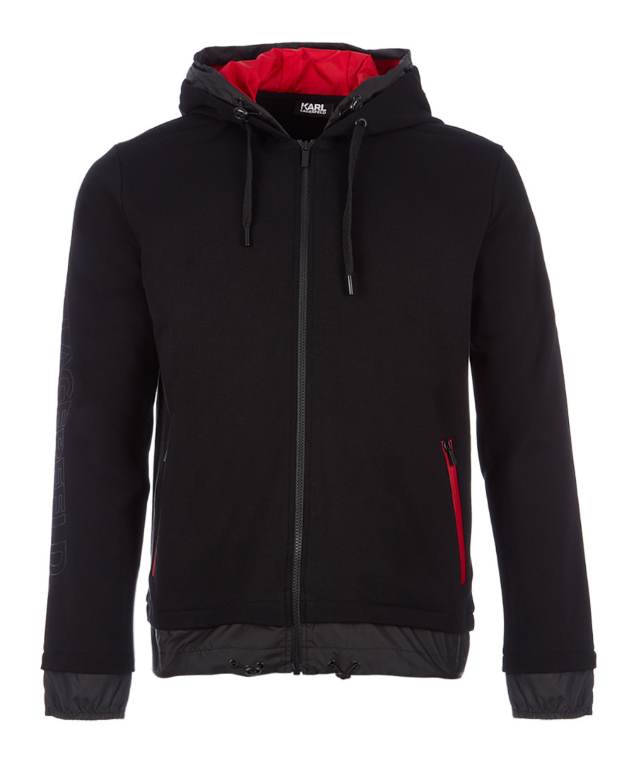 black pure cotton full-zip hoodie Sale - KARL LAGERFELD