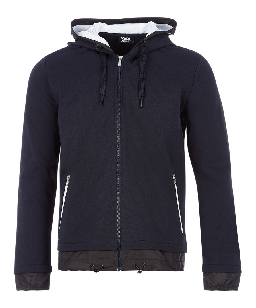 navy pure cotton full-zip hoodie Sale - KARL LAGERFELD