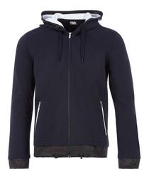 navy pure cotton full-zip hoodie