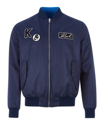 navy patch full-zip bomber jacket
