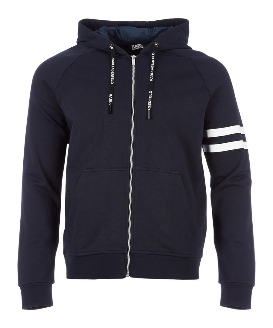 navy pure cotton full-zip hoodie Sale - KARL LAGERFELD