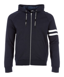 navy pure cotton full-zip hoodie