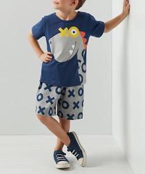 Dinox cotton blend shorts & shirt set