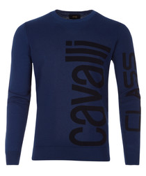Navy pure cotton vertical logo jumper